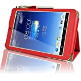 Asus MeMo Pad HD 7 HD7 (ME173X) Multi-Angle 'Pen' Case with 2 in 1 Stylus / Biro Pen by LuvTab® (Red)