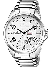 Buccachi Mens Analog Wrist Watches With White Dial Date | Water Resistent Watches | Mens Stainless Steel Watches...