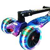 Tretroller Kickscooter Einstellbarer T-Bar-Roller für Kinder, Faltender großer Blinkender Rad 2-8-Jährige, 80kg-Lager, Nicht elektrisch