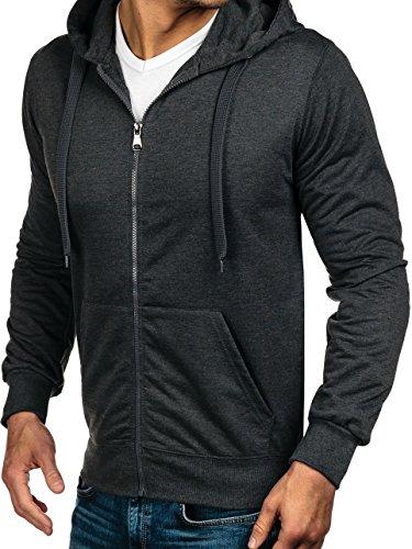 BOLF Kapuzenpullover Sweatshirt Hoodie Kapuze Pullover mit Reißverschluss Mix 1A1 Anthrazit_7037