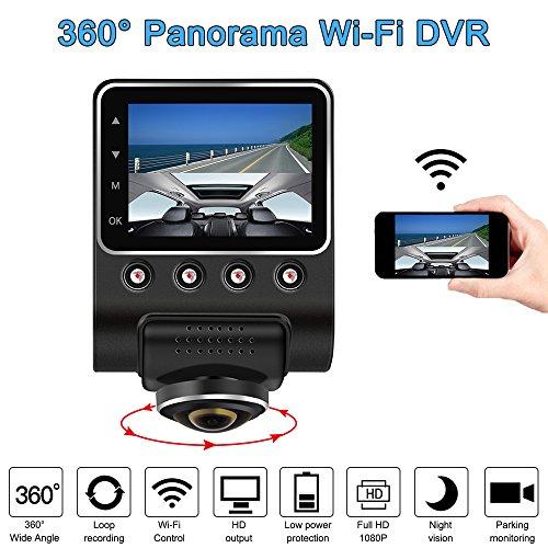 KKmoon Dash Cam Telecamera per Auto 1080P 2.5' Car DVR dashboard camera WiFi Panoramica a 360 gradi FHD Videocamera nascosta Visione notturna Fisheye len G-Sensor senza telecamera