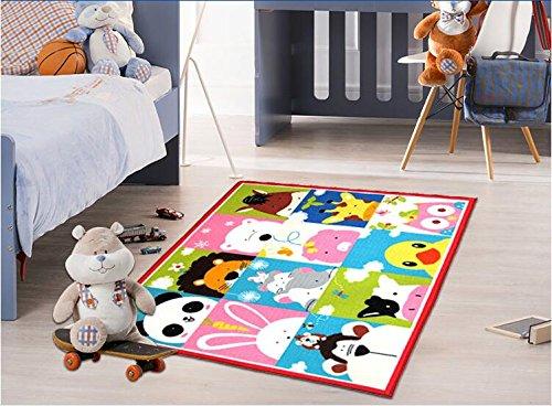 GRENSS Lustige Kinder Teppich Cartoon Animal Print Teppiche 16 Tiere Thema Fußmatte für Baby Wolldecken für Wohnzimmer Baby Krabbeln Mat (Kinder Teppiche Animal-print)