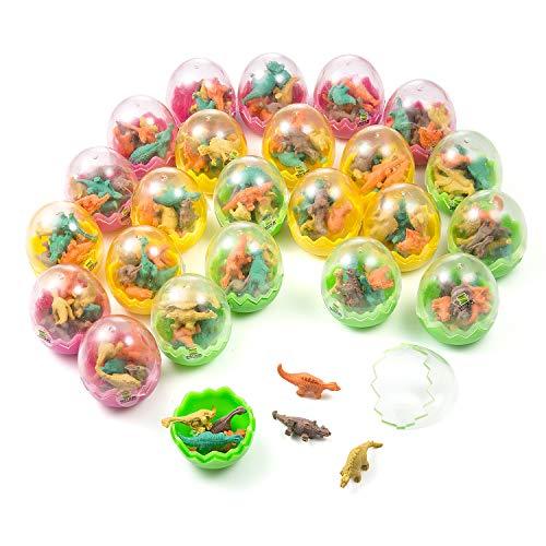 Comius uova dinosauro, 24 pack uova di dinosauro giocattolo con piccolo dinosauro gomma cancellare per feste e compleanni per bambini