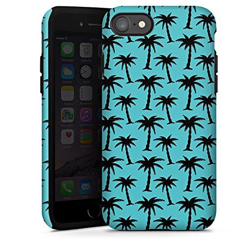 Apple iPhone X Silikon Hülle Case Schutzhülle Palmen Muster Blau Tough Case glänzend