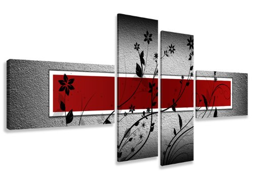 Visario 6535 - Set di 4 Quadri su Tela Senza Cornice, 160 cm, Colore: Rosso