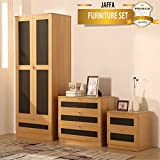 JAFFA SUPREME OAK/GREY High Gloss 3 Piece Bedroom Furniture Set - Soft Close Wardrobe, Chest & Bedside