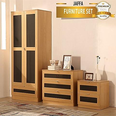 JAFFA SUPREME OAK/GREY High Gloss 3 Piece Bedroom Furniture Set - Soft Close Wardrobe, Chest &