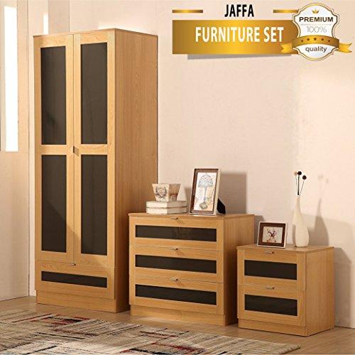 JAFFA SUPREME OAK/GREY High Gloss 3 Piece Bedroom Furniture Set - Soft Close Wardrobe, Chest & Bedside