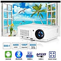 CAIWEI 2019 Bluetooth Projector WiFi Android LCD LED Smart Video Projectors Home Theater 4400 Lumens Support HD 1080P Airplay HDMI USB RCA VGA AV for Smartphone DVD Game Consoles Laptop Outdoor Movie