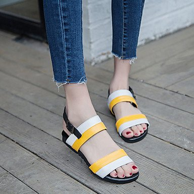 LvYuan Sandali-Casual-Altro-Piatto-Finta pelle-Nero e bianco Bianco / Giallo White/Yellow