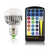 E27 LED Farbwechsellampe klein RGB mit Fernbedienung 5W dimmbar 120°