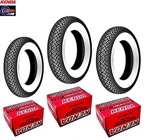 3 Reifen Kenda - K 333 - Weißwand - Größe 3.50–10-51J - 4PR - für Piaggio Vespa PX 125 150 200 inkl. Schläuche