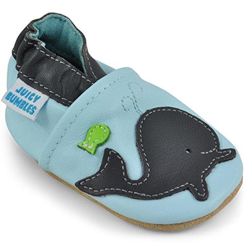 Juicy Bumbles - Lauflernschuhe - Krabbelschuhe - Babyhausschuhe - Wal 12-18 Monate (Größe 22/23)
