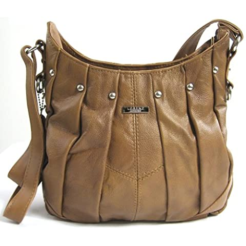 On Trend Ladies Real Leather Handbag / Shoulder Bag with Pleated Design and Long Adjustable Strap (Tan)