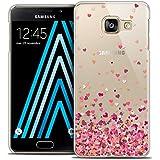 Caseink - Coque Housse Etui Samsung Galaxy A3 2016 (A310) [Crystal HD Collection Sweetie Design Heart Flakes - Rigide - Ultra Fin - Imprimé en France]