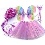 Tante Tina - Disfraz de hadas mariposa - Alas, Falda tutú, Varita mágica y Diadema - Multicolor