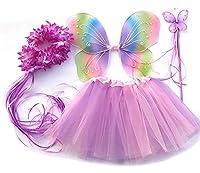 Caratteristiche del prodotto: costume da farfalla in quattro pezzi. Fascia elastica: 36-54 cm. Lunghezza gonna: 30 cm. Larghezza ali: 46 cm ca. Lunghezza ali: 38 cm ca. Adatto per bambini di età compresa tra 2 e 8 anni. Materiale: 100% Polies...