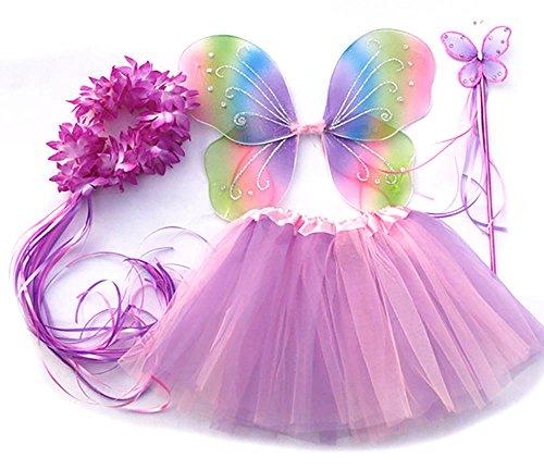 Tante Tina - Schmetterling Kostüm für Mädchen - 4-teiliges Set - Feenflügel / Schmetterlingsflügel Verkleiden - (Kostüme Flügel Fee Halloween)