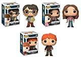 Funko POP! Harry Potter: Harry Potter w/ Marauders Map + Hermione Granger w/ Time Turner + Ron Weasley w/ Scabbers - Stylized Movie Vinyl Figure Set NEW