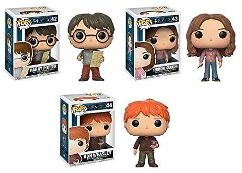 Funko POP! Harry Potter: Harry Potter w/ Marauders Map + Hermione Granger w/ Time Turner + Ron Weasley w/ Scabbers - Stylized Movie Vinyl Figure Set NEW