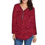 DEELIN Sweatshirt Loose Fitting Reißverschluss V-Ausschnitt Langarmshirts Tunika Freizeithemd Bluse