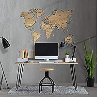 MapaMundi decorativo de madera, personalizable para pared con nombres de países grabados Mapa del mundo para pared • 100x60cm | 160x100cm | 200x120 cm Envío Peninsular Gratis