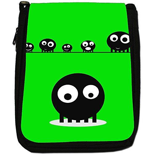 Blob Faces-Borsa a tracolla in tela, colore: nero, taglia: M Green Blob Faces