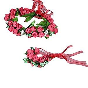 Yazilind Kranz Elegante Spitze Stirnband Blume Armband Girlande für Hochzeit Festivals Tourismus (2Pcs)