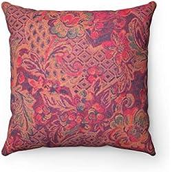 Moroccanity Funda de cojín con diseño de Rosa marroquí y Flores, Estilo Shabby Chic, 45 x 45 cm, Color Rojo y Azul