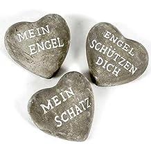 Beton Herzen Mit Drei Verschiedenen Sprüchen. Durchmesser 8cm. 3 Stück