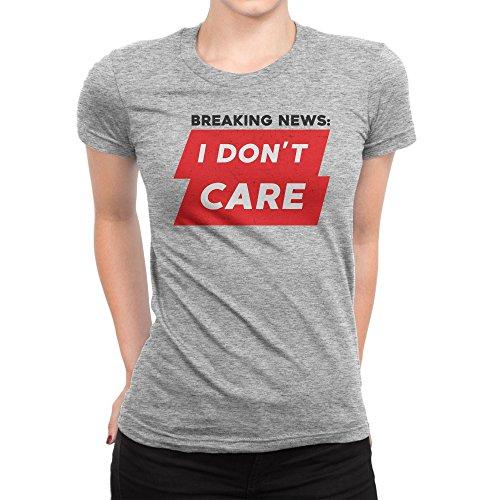 Breaking News I Don't Care Damen T-Shirt XXL (York New Ash Grey-t-shirt)