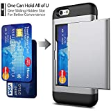 iPhone 6 / 6s Case with Card Holder and[ Screen Protector Tempered Glass x2Pack] SUPBEC i Phone 6/6s Wallet Case Cover with Shockproof Silicone TPU + Anti-Scratch Hard PC - Full Protective (Silver)