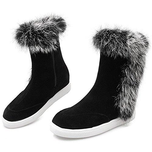 TAOFFEN Damen Warme Flache Schuhe Der Beiläufigen Höhe Erhöhung Ferse Schneeschuhe mit Kunstfell Datierung Schwarz