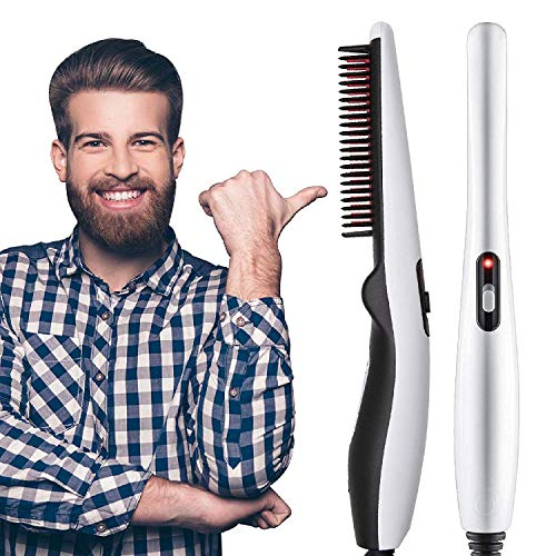 Rozols Quick Hair Styler for Men Electric Beard Straightener Massage Hair Comb Beard Comb Multifunctional Curly Hair Straightening Comb Curler, Beard Straightener, Beard Straightener For Men (Black)
