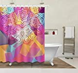 Nyngei Mandala Hippie Gypsy Decor Baño Tela Cortina de ducha y Alfombra y 12 Gancho 183 x 183 cm