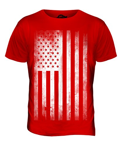 USA Stars and Stripes Flagge Aufdruck verblasst Herren T-Shirt Top Rot