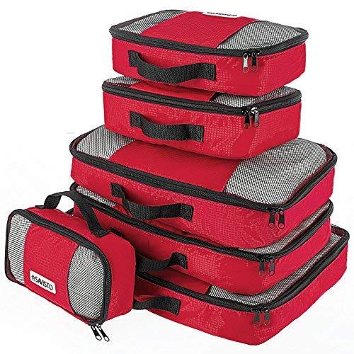 Savisto Packing Cubes, 6-teiliges Packtaschen Set für Urlaub, Reisen, Flugreisen - Ordnungssystem für Koffer, Handgepäck, Trolley, Reisetasche und Rucksack - Packwürfel in 7 Farben - Rot