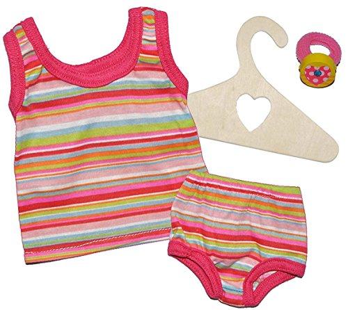 2 tlg. Set Puppenkleidung Gr. 35 - 45 cm - Unterwäsche Slip + Unterhemd rosa gestreift Kleidung - Puppenkleidung Unterwäsche-set
