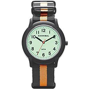 KIDS BOLD GLOW DIAL SPORTS WATERPROOF WATCH ON ORANGE AND BLACK NYLON STRAP