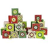 Papierdrachen DIY Adventskalender Kisten Set - Motiv Rot-Grün - 24 Bunte Schachteln zum Aufstellen...