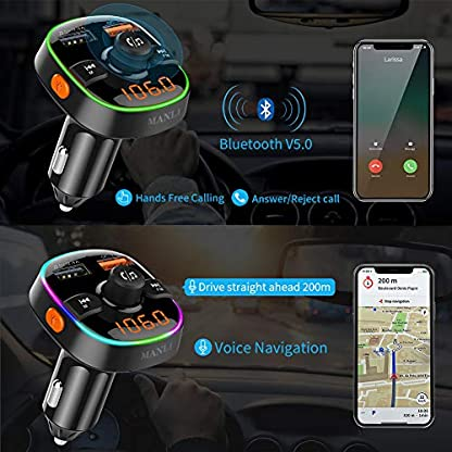 MANLI-Bluetooth-FM-Transmitter-QC30-Auto-Ladegert-Bluetooth-Auto-Adapter-Radio-Transmitter-MP3-Player-mit-7-Farbiges-Umgebungslicht-Untersttzt-TF-KarteUSB-Stick-Siri-Google-KFZ-Freisprech