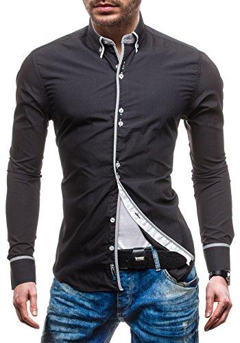 BOLF Herren Langarm Herrenhemd Figurbetont Freizeit Classic Slim Fit 5811 Schwarz