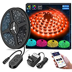 Musique Ruban à Led Etanche avec APP, Minger 5M Bande LED 5050 RGB Multicolore SMD Microphone Intégré Led Flexible Strip Light