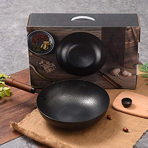 Reine Schmiede Iron Pot Hand Traditionelle geschmiedete Nonstick, unbeschichtete physische Haushalts Pot Wok, kein Öl Rauch Nonstick Cookware Non-stick Wok