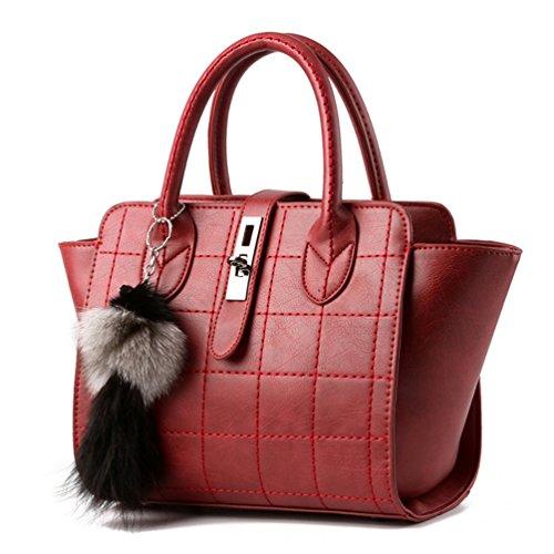 Auspicious beginning Frauen elegante Nähgarn Clutch Handtasche mit schönen Tier Anhänger Weinrot