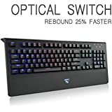 Mechanical Gaming Keyboard, AURTEC Optical Axis Switch Wired USB Computer Keyboard With 104 Keys, 16.8 Million RGB Backlit, Wrist Rest(Blue Switch)
