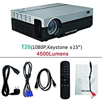 T26K Portable 1080P 5500 Lumens LED Projector HDMI VGA USB TV 3D LCD Home Theater for Family Gatherings/Outdoor Entertainment