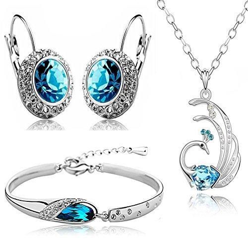 TrifyCore Valentine Geschenk Blau Kristall Combo Schmuck Halskette Set/Anhänger Set Ohrringe & Armband Frauen & Mädchen (Halskette-ohrring-combo)