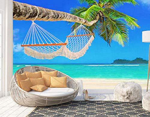 3D-Hängematte im Schatten - Palmen, Wohnzimmer, Tapetenwand, Wandbilder, Fotos, Dekor-300 * 210cm -
