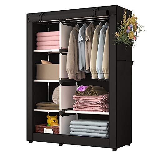 Udear armadio per camera da letto tessuto non tessuto mobili armadio abbigliamento organizzatore nero